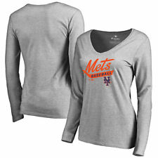 New York Mets Women's Front Sweep Slim Fit Long Sleeve T-Shirt - Ash - MLB
