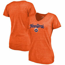 New York Mets Women's Freehand V-Neck Slim Fit Tri-Blend T-Shirt - Orange - MLB