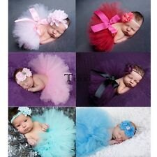 Newborn Baby Photography Prop Headband Tutu Skirt Ball Gown Flower Mesh TXWD