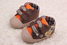 Baby boy toddle infant brown soft sole Crib Shoes sneaker Newborn 18 to Months