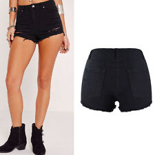 Women Denim High Waisted Black Shorts Ladies Ripped Jeans Hotpants 6 8 10 12 14