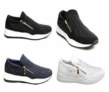 Women Ladies Zip Diamante Trainers Stone Shoes Fashion Sneaker Sport Suede Comfy
