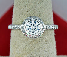 Modern Simulated Diamond 1.0 ct Halo Engagement Ring in 14k Solid White Gold