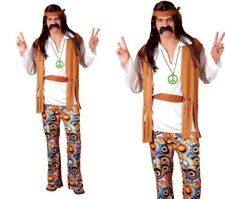 Woodstock Mens Hippie Fancy Dress Costume 60s 70s Hippy Outfit S-XL
