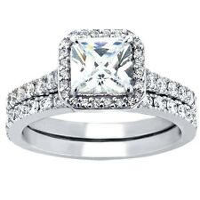 Women's Princess Cut CZ Sterling Silver Wedding Set Bridal Rings Size 5-10
