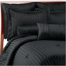 1500 TC Egyptian Cotton 8 PIECE GOOSE DOWN BED IN A BAG Striped Black  ALL SIZES