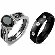 3 PCS Couple Hers Black Oval CZ Stainless Steel 2 Rings Set/Mens 3 Clear CZ Band
