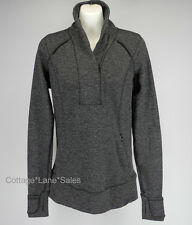 NEW LULULEMON Think Fast Pullover Top Sz 6 Mini Check Pique Heathered Black Run
