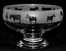 *DONKEY GIFT*  Boxed & Footed GLASS BOWL with DONKEY FRIEZE