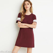 New Women Casual Crew Neck Tunic Top Strip Solid Short Sleeve Long T-Shirt Dress