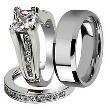 Classic Hers Sterling Silver His Tungsten Wedding Engagement Ring Band Set