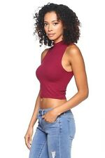 Crop top mock neck sleeveless casual polyester solid sexy top burgundy