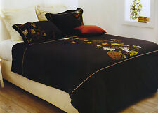 3 Pce FORTUNE RING Black Embroidered Quilt Duvet Doona Cover Set - QUEEN KING