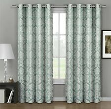 Aryanna Top Grommet Jacquard Window Curtain Panel Set of 2 Panels