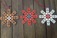 Gisela Graham Brown Red White Wooden Snowflake Christmas Decoration Gift