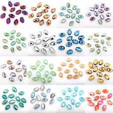 Lots 50Pc Colorized Olive Shape Flat Round Loose Spacer Crystal Glass Beads 8mm