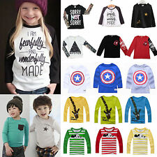 Kids Long Sleeve T-Shirt Tops Clothes Sweatshirt Boys Girls Crewneck Shirts Tee