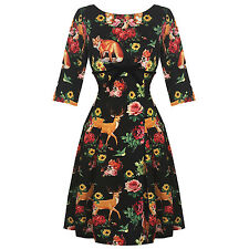 Hell Bunny Hermeline Black Fox Deer Print 1950s Retro Vintage Party Dress