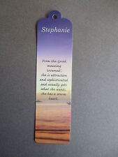 BOOKMARK STEPHANIE Name Meaning Personalised CHRISTMAS STOCKING Gift Present