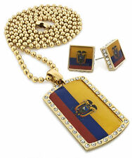 "Iced Out Ecuador Flag Dog Tag Pendant 30"" Ball Chain Necklace Earring Set S053"