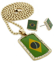 "Men Iced Out Brazil Flag Dog Tag Pendant 30"" Ball Chain Necklace Earring Set 54"
