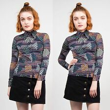 VINTAGE 70'S PATTERNED BLOUSE SHIRT RETRO BLUE CASUAL WOMENS POINTY COLLAR 6 8