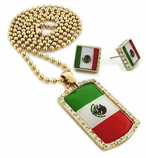 "Men Iced Out Mexico Dog Tag Pendant 30"" Ball Chain Necklace & Earring Set S057"