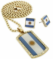 "Iced Out Argentina Dog Tag Pendant 30"" Ball Chain Necklace & Earring Set S059"