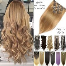 100% Real As Human Thick Hair Clip In Hair Extensions Full Head Black Brown To8