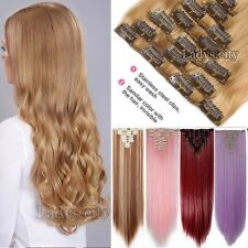 Deluxe 8 PIECES Clip In Hair Extensions Like Human Ombre Brown Blonde Hair Lc