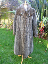 GORGEOUS SILVER BROWN RACCOON FOX  WARM FULL LENGTH  FUR COAT 12  VINTAGE