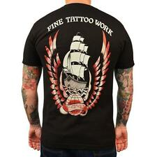 Fine Tattoo Work by Adi Men's Tee Shirt Clippership Nautical Ship with Wings
