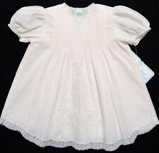 HAND~EMBROIDERED NB/3M FRENCH LACE TRIMMED PINK~WHITE~BLUE BATISTE DRESS W/SLIP