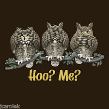 Owl T-shirt Unisex Humor New Hoo Me Brown S M L XL 2XL NWT Cotton Gildan NEW