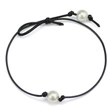 Women Pretty Simple Pearl Rope Choker Necklace on Black Leather Cord Pendant