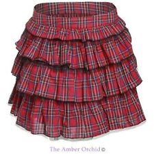 Ladies Womens Mini Skirt Red Tartan Tiered Checked Skater Frilled Ruffle