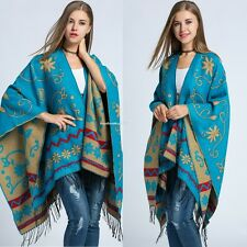 Women Knitted Cape Aztec Tribal Gypsy Sweater Boho Fringe Chic Scarf Cardigan