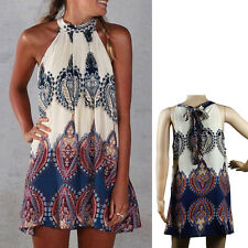 Women's Vintage Bohemia Floral Sundress Casual Short Mini Dress Beach Summer
