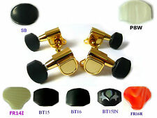Ukulele Golden Color Tuners Machine Heads  Plastic Ebony Inlay Buttons 4p 333UG