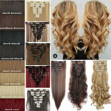 Thick Long Straight Clip in 100% Real Hair Extensions Full Head Human 8Pcs Tnb