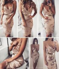 Sexy Womens Sequins Deep V-Neck Bandage Bodycon Club Cocktail Party Mini Dress