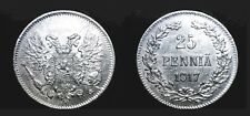 FINLAND / RUSSIAN EMPIRE 25 Penni Silver coin VF without crown 1917 KM #19