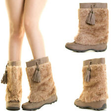 Taupe Faux Fur Suede Pull On Winter Snow Women Mid Calf Tall Eskimo Flat Boot US