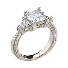 Sterling Silver Cubic Zirconia Three Stone Jewelry Women Wedding Engagement Ring