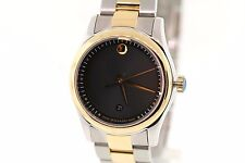 Ladies MOVADO 0606484 SPORTIVO Two-Tone Stainless Black Museum Dial Watch