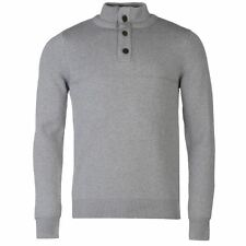 Kangol Mens Quarter Button Knit Jumper Ribbed Cotton Long Sleeve High Neck Top