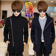 Korean Style Men Woolen Jacket Zipper Long Slim Fit Casual Jacket Coat Outwear #