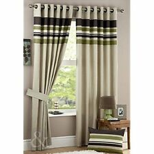 Just Contempo Stripe Eyelet Lined Curtains, Green, 46x90 inches