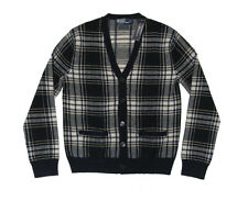 $695 Polo Ralph Lauren Mens Plaid Cashmere Knit Button Cardigan Sweater New S