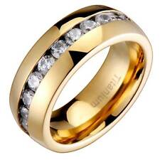 Titanium Round Cubic Zirconia Band Dome Shiny Gold Plated Men's Wedding Ring
